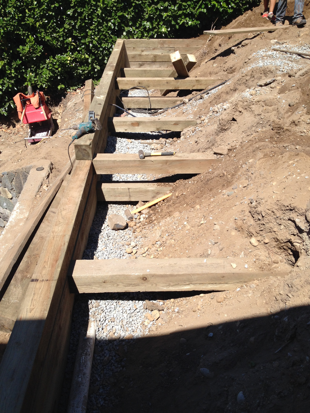 Timber Retaining Wall Under Construction